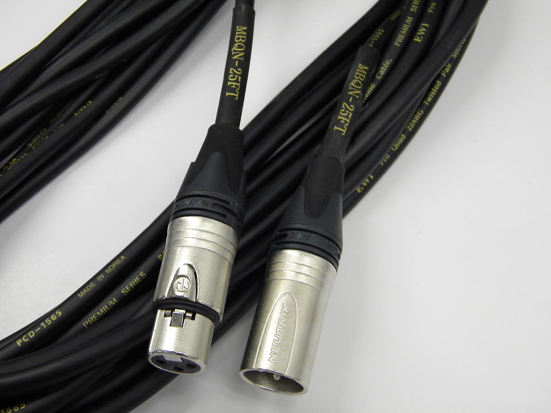 2 Pack EWI 25\' Black Pro Quad XLR Mic Cable with Neutrik XX Cord Ends