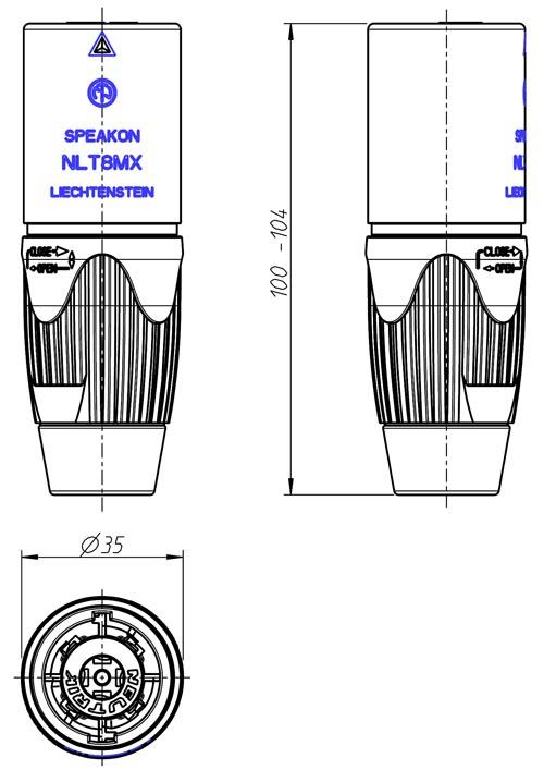 Nlt8mx Bag Speakon Male Nl8 Cord End Heavy Duty Black