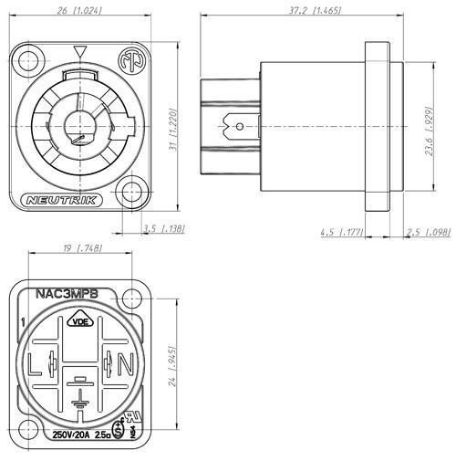 Nac3mpb Grey Powercon 20 Amp Power Out Male Panel Jack