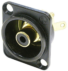 NF2D-B-0 | Neutrik Female RCA panel jack, black insert