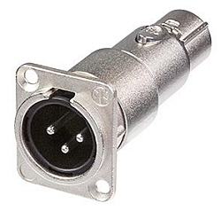 NA3MDF | Neutrik XLR Male to XLR Female Panel Mount Feedthrough Adapter
