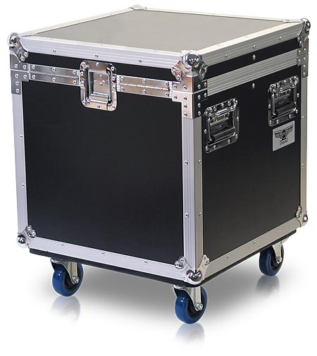 C005 Small Hinge Lid Cube Style Road Trunk With Casters