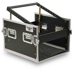 C4UE-P-22 | 4 Space Heavy Duty Extra Deep Rack Case with Slant Top Mixer Rails