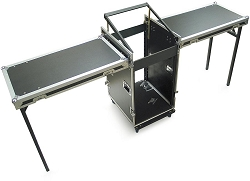 CUDJ-P-22 | Heavy Duty Extra Deep Rack Case with Slant Top Mixer Rails and Table Top Lids | 12U, 16U