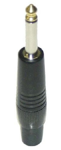 "P292-BKG | 1/4"" TS cord end, black, gold plated contacts"