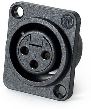 NC3FPP | Neutrik plastic female XLR panel jack, non-latching