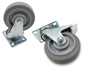 "BBT-SF | Four Inch, ""Soft"" Wheel Swivel Casters, available with or without brake"