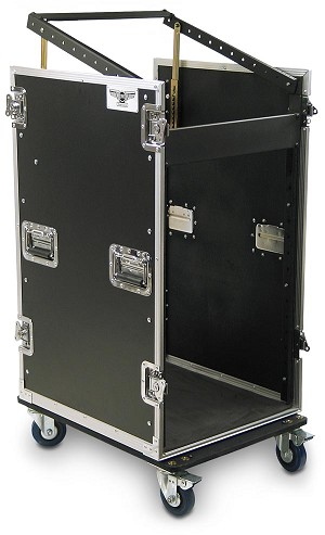 C12U-P-22M | 12 Space Heavy Duty Extra Deep Rack Case with Slant Top Mixer Rails