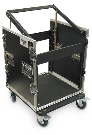 C8U-P-22 | 8 Space Heavy Duty Extra Deep Rack Case with Slant Top Mixer Rails