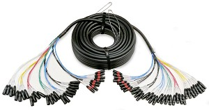 50% OFF!! DF-PPX-24-8-125 foot 24 channel Dual Fantail XLR Snake with 8 XLR Return Channels  | $318.00!!